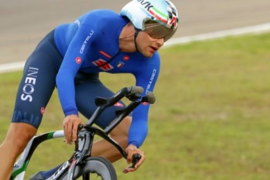 Italy's Filippo Ganna competes on his way to win the men's Individual Time Trial event, at the road cycling World Championships, in Imola, Italy, Friday, Sept. 25, 2020. (AP Photo/Andrew Medichini)